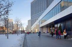 Χειμερινή άποψη της οδού νέο Arbat στη Μόσχα, Ρωσία Στοκ Εικόνες
