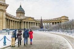 Χειμερινή άποψη του Kazan καθεδρικού ναού στη Αγία Πετρούπολη στοκ εικόνες