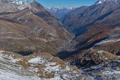 Χειμερινή άποψη των Άλπεων από τον παράδεισο παγετώνων Matterhorn, Ελβετία Στοκ Εικόνες