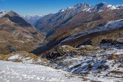 Χειμερινή άποψη των Άλπεων από τον παράδεισο παγετώνων Matterhorn, Ελβετία Στοκ Φωτογραφία