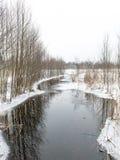 Χειμερινή αγροτική σκηνή με την ομίχλη και τον παγωμένο ποταμό Στοκ Φωτογραφίες