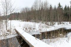 Χειμερινή αγροτική σκηνή με την ομίχλη και τον παγωμένο ποταμό Στοκ φωτογραφίες με δικαίωμα ελεύθερης χρήσης
