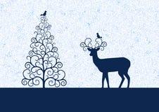 Χειμερινή απεικόνιση με το χριστουγεννιάτικο δέντρο σκιαγραφιών, τάρανδος και birdies Στοκ Εικόνες