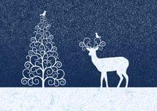 Χειμερινή απεικόνιση με το χριστουγεννιάτικο δέντρο σκιαγραφιών, τάρανδος και birdies Στοκ Εικόνα