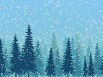 Χειμερινή δασική απεικόνιση με το χιόνι Στοκ εικόνες με δικαίωμα ελεύθερης χρήσης