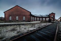 χειμερινή αυλή σιδηροδρόμων σαφούς ημέρας Στοκ Φωτογραφίες