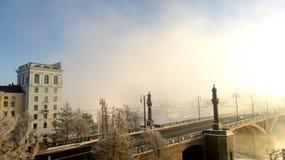 Χειμερινή γέφυρα στην πόλη του Βιτσέμπσκ στοκ φωτογραφία με δικαίωμα ελεύθερης χρήσης