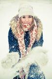 χειμερινή γυναίκα παλτών Στοκ Εικόνα