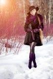 Χειμερινή γυναίκα στο υπόβαθρο του χειμερινού τοπίου, ήλιος Μόδα gir Στοκ εικόνες με δικαίωμα ελεύθερης χρήσης
