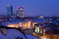 Χειμερινή εικονική παράσταση πόλης της Βαρσοβίας Στοκ Φωτογραφίες