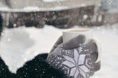 Χειμερινή εικόνα: παραδίδει τα πλεκτά γκρίζα γάντια κρατώντας ένα φλυτζάνι του καυτού καφέ μια χιονώδη ημέρα σε ένα ξύλινο αγροτι στοκ φωτογραφίες με δικαίωμα ελεύθερης χρήσης