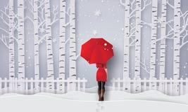 Χειμερινή εποχή με την ανοικτή κόκκινη ομπρέλα κοριτσιών διανυσματική απεικόνιση