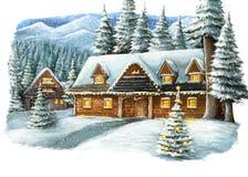 Χειμερινή ευτυχής σκηνή Χριστουγέννων με το ξύλινο σπίτι στα βουνά Στοκ Εικόνες