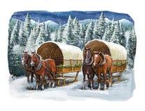 Χειμερινή ευτυχής σκηνή Χριστουγέννων Στοκ Εικόνα