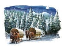 Χειμερινή ευτυχής σκηνή Χριστουγέννων Στοκ φωτογραφία με δικαίωμα ελεύθερης χρήσης