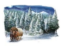Χειμερινή ευτυχής σκηνή Χριστουγέννων Στοκ Εικόνες