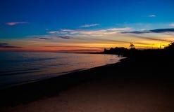 Χειμερινή ημέρα ηλιοβασιλέματος παραλιών Malibu Στοκ Φωτογραφία