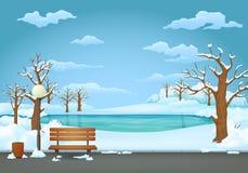 Χειμερινή ημέρα στο πάρκο Ξύλινος πάγκος με το λαμπτήρα δοχείων απορριμμάτων και οδών Παγωμένη λίμνη στο υπόβαθρο απεικόνιση αποθεμάτων