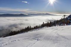 Χειμερινή ηλιόλουστη ημέρα στο Grosser Arber στη Βαυαρία Στοκ φωτογραφία με δικαίωμα ελεύθερης χρήσης