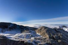 Χειμερινή ηλιόλουστη ημέρα στο Grosser Arber στη Βαυαρία Στοκ εικόνα με δικαίωμα ελεύθερης χρήσης