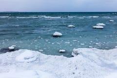 Χειμερινή θάλασσα, η θάλασσα της Βαλτικής Στοκ Εικόνες