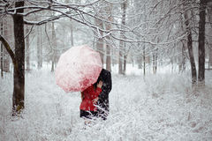 Χειμερινή ιστορία αγάπης στο κόκκινο Στοκ φωτογραφία με δικαίωμα ελεύθερης χρήσης