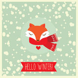 Χειμερινή κάρτα με τη χαριτωμένη ευτυχή αλεπού Στοκ φωτογραφία με δικαίωμα ελεύθερης χρήσης