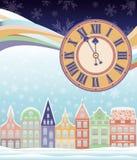 Χειμερινή κάρτα Χαρούμενα Χριστούγεννας με το ρολόι Στοκ Φωτογραφία