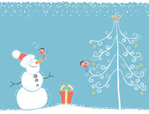 Χειμερινή κάρτα Χριστουγέννων με το χιονάνθρωπο Στοκ εικόνες με δικαίωμα ελεύθερης χρήσης
