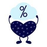 Χειμερινή καρδιά με το σημάδι τοις εκατό Στοκ φωτογραφία με δικαίωμα ελεύθερης χρήσης