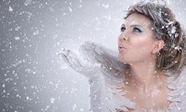 Χειμερινή κυρία που φυσά υπό εξέταση Στοκ εικόνα με δικαίωμα ελεύθερης χρήσης