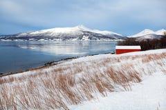 Χειμερινή νορβηγική ακτή Στοκ Εικόνες