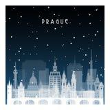 Χειμερινή νύχτα στην Πράγα διανυσματική απεικόνιση
