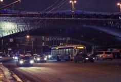 Χειμερινή νύχτα στην πόλη Στοκ Εικόνες