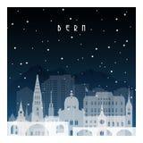 Χειμερινή νύχτα στη Βέρνη διανυσματική απεικόνιση