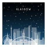 Χειμερινή νύχτα στη Γλασκώβη διανυσματική απεικόνιση
