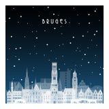 Χειμερινή νύχτα στη Μπρυζ ελεύθερη απεικόνιση δικαιώματος