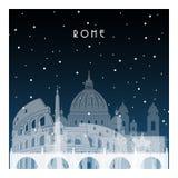 Χειμερινή νύχτα στη Ρώμη ελεύθερη απεικόνιση δικαιώματος