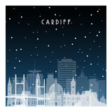 Χειμερινή νύχτα στο Κάρντιφ απεικόνιση αποθεμάτων
