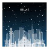 Χειμερινή νύχτα στο Μιλάνο διανυσματική απεικόνιση