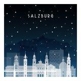 Χειμερινή νύχτα στο Σάλτζμπουργκ διανυσματική απεικόνιση
