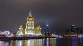 Χειμερινή νύχτα της Ουκρανίας ξενοδοχείων timelapse hyperlapse φιλμ μικρού μήκους
