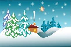 Χειμερινή νύχτα, χριστουγεννιάτικα δέντρα στο χιόνι Στοκ Φωτογραφία