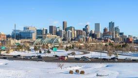 Χειμερινή πανοραμική άποψη του στο κέντρο της πόλης Ντένβερ στοκ εικόνες με δικαίωμα ελεύθερης χρήσης