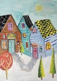 Χειμερινή πόλη ζωγραφικής γκουας Στοκ Εικόνες