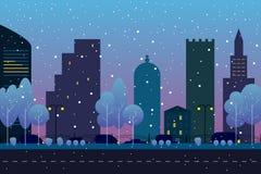 Χειμερινή πόλη με το δρόμο Σπίτια, αυτοκίνητα, δέντρα κάτω από το χιόνι Πρότυπο πόλης υποβάθρου Τοπίο βραδιού ή πρωινού στο επίπε ελεύθερη απεικόνιση δικαιώματος
