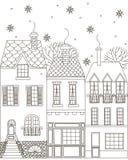 Χειμερινή πόλη γραφική απεικόνιση χρωματισμού βιβλίων ζωηρόχρωμη Στοκ Εικόνες