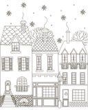 Χειμερινή πόλη γραφική απεικόνιση χρωματισμού βιβλίων ζωηρόχρωμη Στοκ φωτογραφία με δικαίωμα ελεύθερης χρήσης
