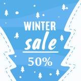 Χειμερινή πώληση μέχρι 50% από το έμβλημα - διανυσματικός εικονογράφος διανυσματική απεικόνιση