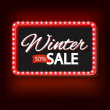 Χειμερινή πώληση με το πορφυρό εκλεκτής ποιότητας πλαίσιο φω'των Στοκ Εικόνες